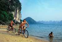 Cycling - Trekking on The Beach of Halong Bay