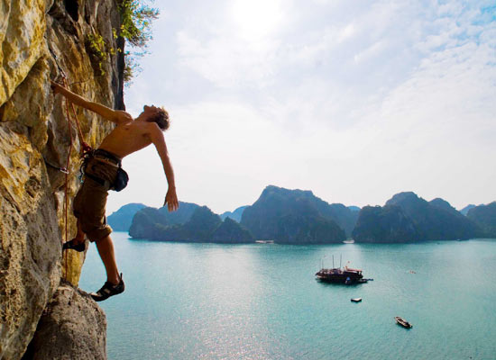 Rock Climbing in Halong Bay, Vietnam