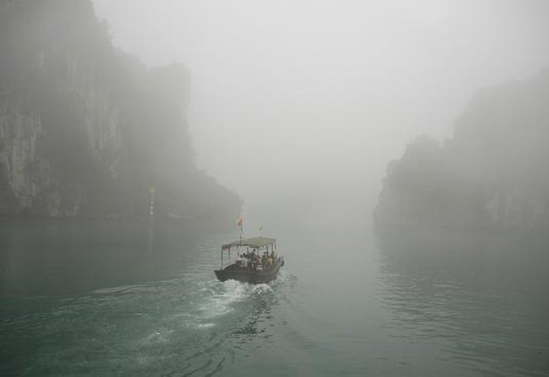 Foggy weather in Halong Bay