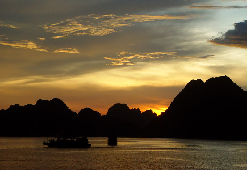Halong Bay during sunset