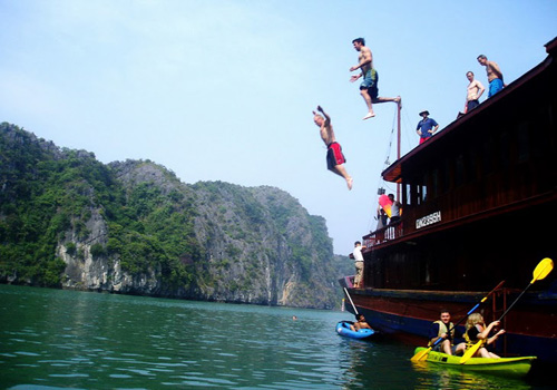 Swimming in Halong Bay